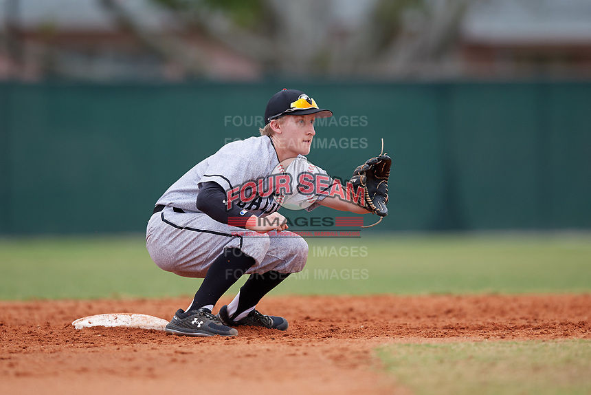 Edgewood Eagles second baseman Bryan Niznik (2) during the first game of a double header against the Bethel Wildcats on March 15, 2019 at Terry Park in Fort Myers, Florida.  Bethel defeated Edgewood 6-0.  (Mike Janes/Four Seam Images)