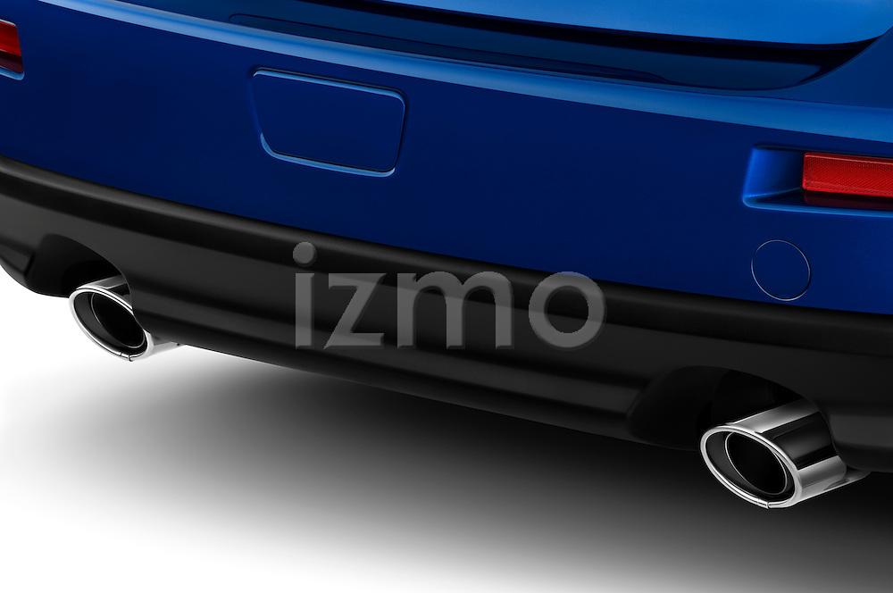 Closeup of Tailpipes on a blue 2010 Mitsubishi Lancer Sportback