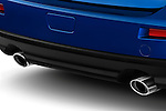 Closeup of Tailpipes on a blue 2010 Mitsubishi Lancer Sportback