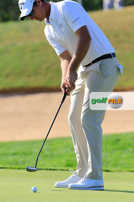 Nicolas Colsaerts (BEL) putts on the 13th green during Thursday's Round 1 of the 2016 Portugal Masters held at the Oceanico Victoria Golf Course, Vilamoura, Algarve, Portugal. 19th October 2016.<br /> Picture: Eoin Clarke | Golffile<br /> <br /> <br /> All photos usage must carry mandatory copyright credit (&copy; Golffile | Eoin Clarke)