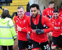 Lincoln City's Harry Anderson, left, and Matt Green during the pre-match warm-up<br /> <br /> Photographer Andrew Vaughan/CameraSport<br /> <br /> The Emirates FA Cup Second Round - Lincoln City v Carlisle United - Saturday 1st December 2018 - Sincil Bank - Lincoln<br />  <br /> World Copyright © 2018 CameraSport. All rights reserved. 43 Linden Ave. Countesthorpe. Leicester. England. LE8 5PG - Tel: +44 (0) 116 277 4147 - admin@camerasport.com - www.camerasport.com