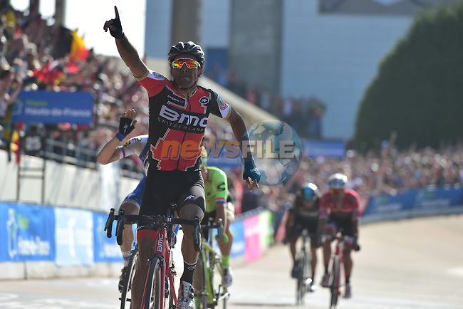Greg Van Avermaet (BEL) BMC Racing outsprints Zdenek Stybar (CZE) Quick-Step Floors and Sebastian Langeveld (NED) Cannondale-Drapac to win in the old Velodrome in Roubaix at the end of the 115th edition of the Paris-Roubaix 2017 race running 257km Compiegne to Roubaix, France. 9th April 2017.<br /> Picture: ASO/P.Ballet | Cyclefile<br /> <br /> <br /> All photos usage must carry mandatory copyright credit (&copy; Cyclefile | ASO/P.Ballet)