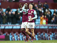 Jack Grealish of Aston Villa celebrates Aston Villa's victory against Birmingham City.<br /> Photographer Leila Coker/CameraSport<br /> <br /> The EFL Sky Bet Championship - Aston Villa v Birmingham City - Sunday 11th February 2018 - Villa Park - Birmingham<br /> <br /> World Copyright &copy; 2018 CameraSport. All rights reserved. 43 Linden Ave. Countesthorpe. Leicester. England. LE8 5PG - Tel: +44 (0) 116 277 4147 - admin@camerasport.com - www.camerasport.com<br /> Photographer Leila Coker/CameraSport<br /> <br /> The EFL Sky Bet Championship - Aston Villa v Birmingham City - Sunday 11th February 2018 - Villa Park - Birmingham<br /> <br /> World Copyright &copy; 2018 CameraSport. All rights reserved. 43 Linden Ave. Countesthorpe. Leicester. England. LE8 5PG - Tel: +44 (0) 116 277 4147 - admin@camerasport.com - www.camerasport.com