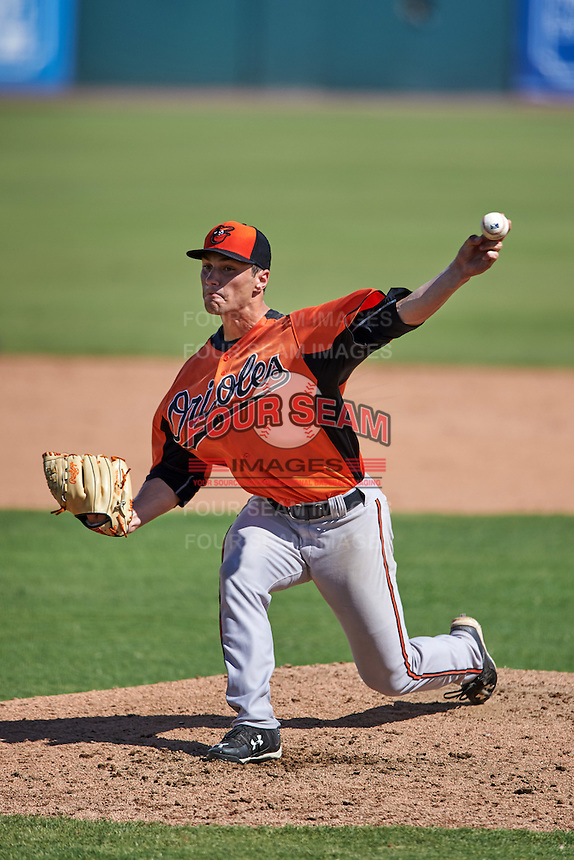 Baltimore Orioles pitcher Jean Cosme (46) during an instructional league game against the Tampa Bay Rays on September 25, 2015 at Ed Smith Stadium in Sarasota, Florida.  (Mike Janes/Four Seam Images)