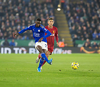 26th December 2019; King Power Stadium, Leicester, Midlands, England; English Premier League Football, Leicester City versus Liverpool; Wilfred Ndidi of Leicester City passing the ball forward - Strictly Editorial Use Only. No use with unauthorized audio, video, data, fixture lists, club/league logos or 'live' services. Online in-match use limited to 120 images, no video emulation. No use in betting, games or single club/league/player publications