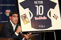New York Red Bulls captain Claudio Reyna addresses the media during a press conference announcing hi retirement at St. Benedict's Prep in Newark, New Jersey, on July 16, 2008. Claudio Reyna played two years for the New York Red Bulls after playing 12 years in Europe and earning 112 caps for the US national team. Reyna started his career at St. Benedict's being named Parade Magazine national high school player of the year twice.