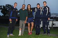 FIERLJEPPEN: BURGUM: 22-06-2016, 1e klas wedstrijd, Eindwinnaars, v.l.n.r. Wietse Nauta (jongens), Hannes Scherjon (sen), Klaske Nauta (dames), Sigrid Bokma (meisjes), Freark    Kramer (junioren), ©foto Martin de Jong