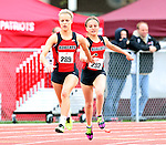 SIOUX FALLS, SD - MAY 3:  Kaitlyn Hadley takes the hand off from teammate Sydney Maher of Brookings during the Girls 4x100 Meter Relay Saturday at the 2014 Howard Wood Dakota Relays. (Photo by Dave Eggen/Inertia)