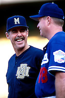 Milwaukee Brewers Manager Phil Garner talks with Los Angeles Dodgers Manager Bill Russell before a Major League Baseball game at Dodger Stadium during the 1998 season in Los Angeles, California. (Larry Goren/Four Seam Images)