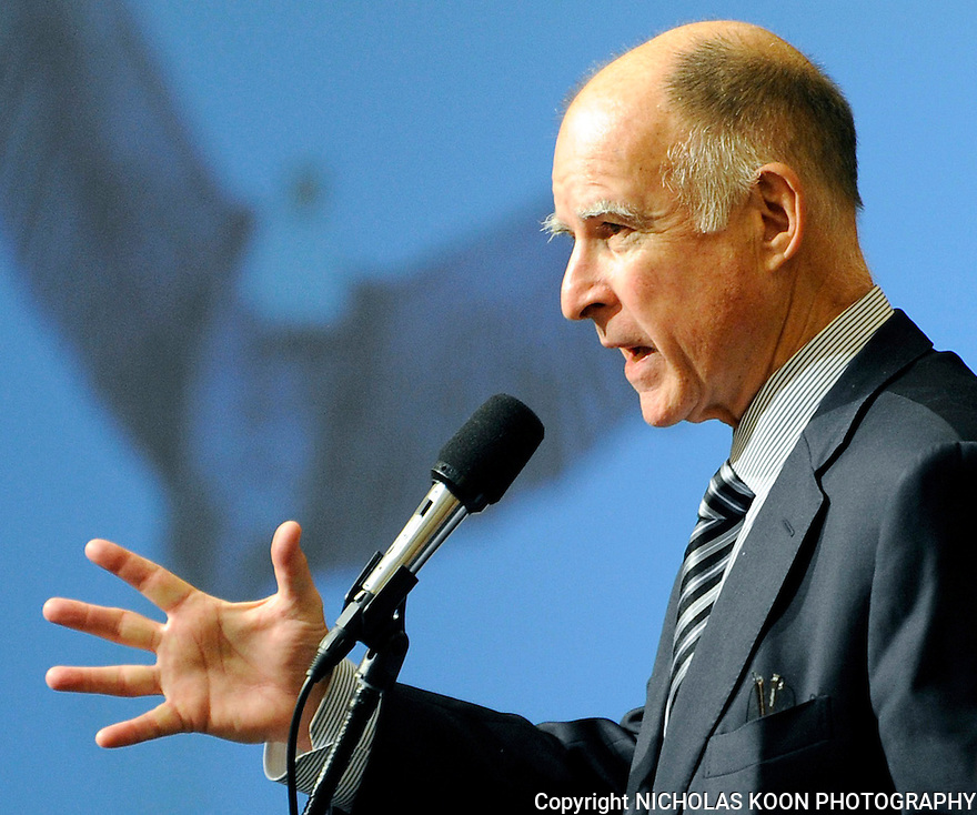 Jerry Brown speaks at the CAA convention in San Francisco in 2009.
