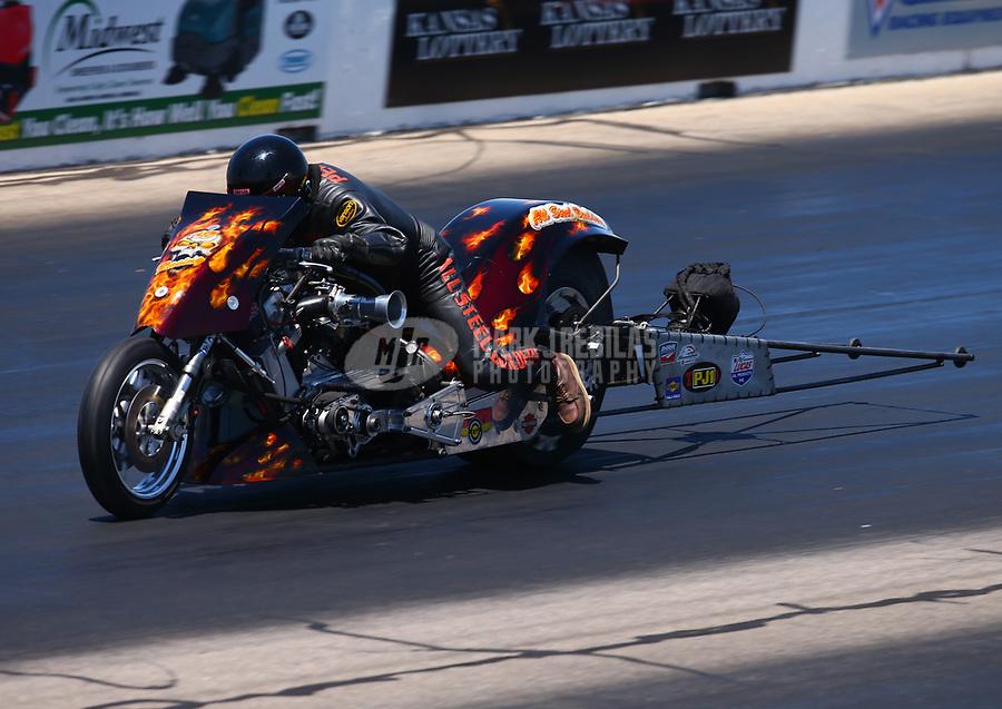 May 21, 2017; Topeka, KS, USA; NHRA top fuel nitro Harley Davidson rider Mike Pelrine during the Heartland Nationals at Heartland Park Topeka. Mandatory Credit: Mark J. Rebilas-USA TODAY Sports