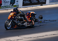 May 21, 2017; Topeka, KS, USA; NHRA top fuel nitro Harley Davidson rider Mike Pelrine during the Heartland Nationals at Heartland Park Topeka. Mandatory Credit: Mark J. Rebilas-USA TODAY Sports