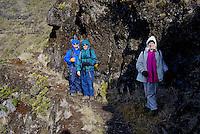 Babyboomers hiking the Halemauu trail, Haleakala Crater, Haleakala National Park
