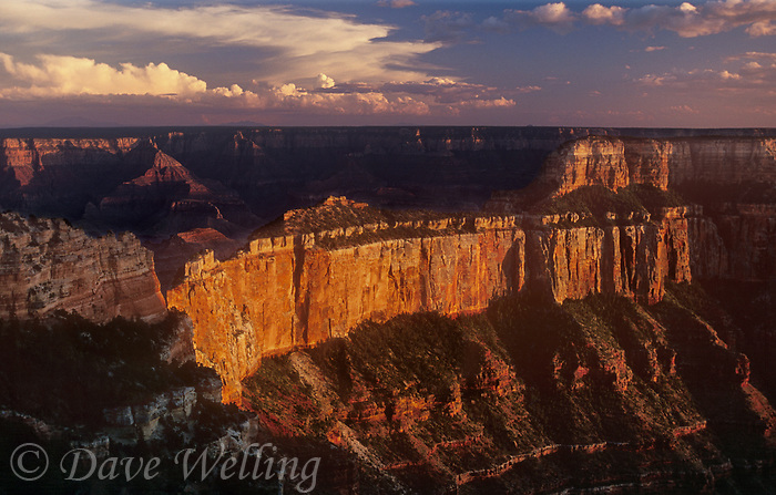 749220294 sunset lights up the ancient geological formations around cape royal as a summer thunderstorm clears over the north rim of grand canyon national park in arizona