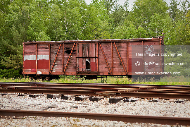 An abandoned railroad car of the Maine Central Railroad Company is seen at the Bartlett Roundhouse in Bartlett, New Hampshire Wednesday June 12, 2013. The Maine Central Railroad Company was chartered in 1856 and was purchased by U.S. Filter Corporation in 1980.