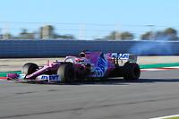 28th February 2020; Circuit De Barcelona Catalunya, Barcelona, Catalonia, Spain; Formula 1 Pre season Testing Week Two, Day 3; BWT Racing Point F1 Team, Sergio Perez engine smokes during intial laps