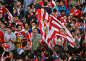 June 4th 2017, Estadi Montilivi,  Girona, Catalonia, Spain; Spanish Segunda División Football, Girona versus Zaragoza; Girona supporters before the match, waiting for the team bus to arrive