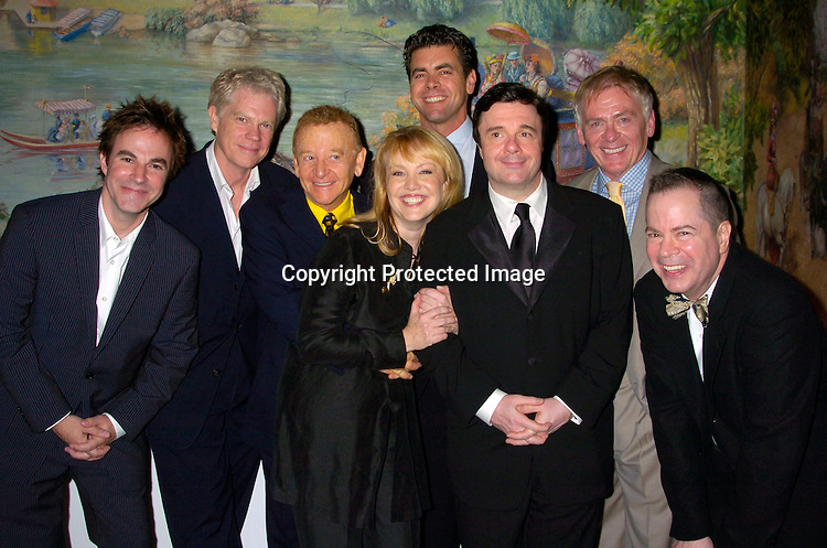 "Roger Bart, Michael Siberry, John Byner, Director Susan Stroman, Burke Moses, Nathan Lane, Daniel Davis and  Peter Bartlett ..at the opening night party for Lincoln Center's Production of ..""The Frogs"" on July 22, 2004 at The Tavern on the Green. ..Photo by Robin Platzer, Twin Images"
