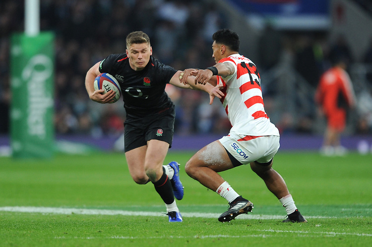 Owen Farrell of England forces his way past Timothy Lafaele of Japan during the Quilter International match between England and Japan at Twickenham Stadium on Saturday 17th November 2018 (Photo by Rob Munro/Stewart Communications)