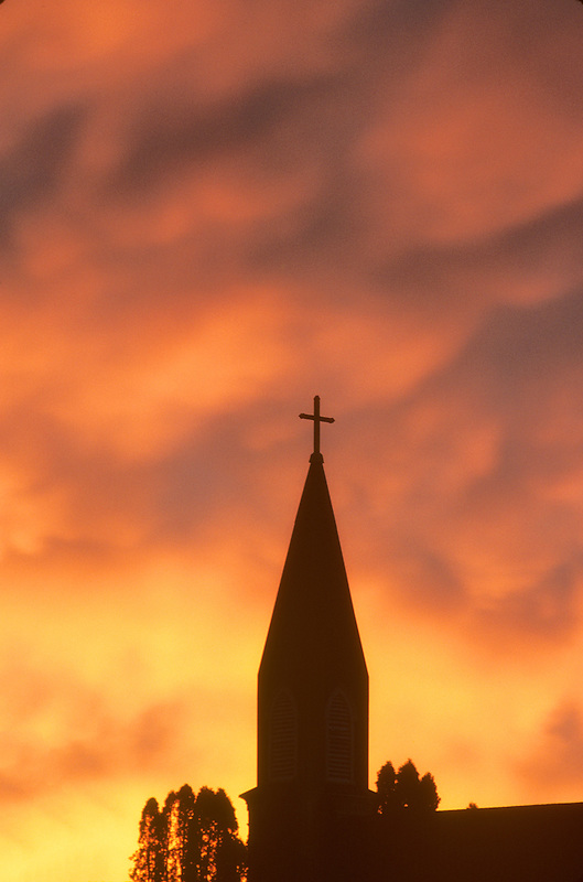Church steeple and sunrise. Monroe, Oregon.