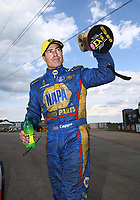 Jul 9, 2017; Joliet, IL, USA; NHRA funny car driver Ron Capps celebrates after winning the Route 66 Nationals at Route 66 Raceway. Mandatory Credit: Mark J. Rebilas-USA TODAY Sports
