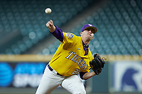 LSU Tigers starting pitcher AJ Labas (26) delivers a pitch to the plate against the Oklahoma Sooners in game seven of the 2020 Shriners Hospitals for Children College Classic at Minute Maid Park on March 1, 2020 in Houston, Texas. The Sooners defeated the Tigers 1-0. (Brian Westerholt/Four Seam Images)