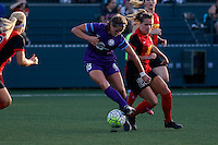 Rochester, NY - Saturday June 11, 2016: Orlando Pride midfielder Maddy Evans (18), Western New York Flash forward Meredith Speck (25) during a regular season National Women's Soccer League (NWSL) match between the Western New York Flash and the Orlando Pride at Rochester Rhinos Stadium.
