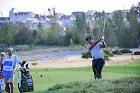 Jhonattan Vegas (VEN) watches his approach shot on 14 during round 2 Four-Ball of the 2017 President's Cup, Liberty National Golf Club, Jersey City, New Jersey, USA. 9/29/2017.<br /> Picture: Golffile | Ken Murray<br /> <br /> All photo usage must carry mandatory copyright credit (&copy; Golffile | Ken Murray)