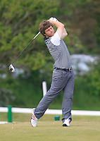 Shaun O'Connor (Luttrellstown Castle) on the 1st tee during the 3rd round of the East of Ireland Amateur Open Championship 2013 Co Louth Golf club 3/6/13<br /> Picture:  Thos Caffrey / www.golffile.ie