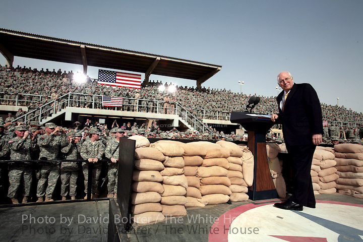 VP Cheney: remarks and award ceremony at a rally for the troops at Balad Air Base, Iraq.CROP/COLOR CORRECT..WEB.Vice President Dick Cheney receives a welcome Tuesday, March 18, 2008, to a rally for U.S. troops at Balad Air Base, Iraq. White House photo by David Bohrer .TRIPBOOK..SCRAPBOOK