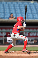 Andrew Noviello (15) of Bridgewater-Raynham Regional High School in Raynham, Massachusetts playing for the Philadelphia Phillies scout team during the East Coast Pro Showcase on August 1, 2014 at NBT Bank Stadium in Syracuse, New York.  (Mike Janes/Four Seam Images)