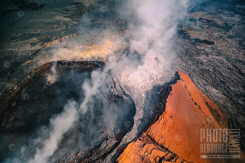 Flying over Pu'u O'o Crater, Kilauea Volcano, Hawai'i Island.