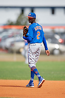 New York Mets shortstop Ronny Mauricio (2) during a Minor League Spring Training intrasquad game on March 29, 2018 at the First Data Field Complex in St. Lucie, Florida.  (Mike Janes/Four Seam Images)
