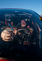 Nov 3, 2019; Las Vegas, NV, USA; NHRA pro mod driver Steve Jackson celebrates after winning the Dodge Nationals at The Strip at Las Vegas Motor Speedway. Mandatory Credit: Mark J. Rebilas-USA TODAY Sports