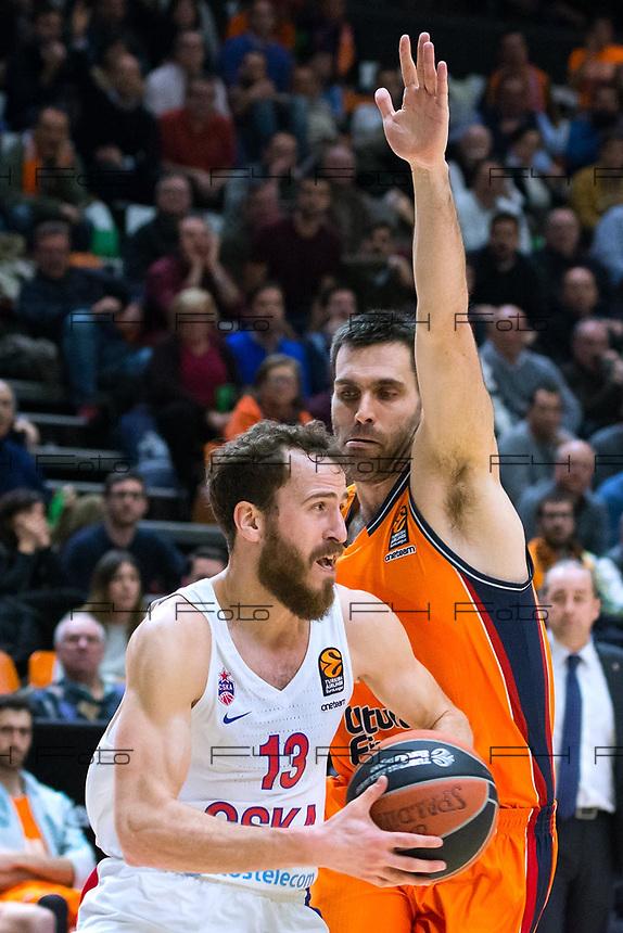 VALENCIA, SPAIN - 08/02/2018. Eurocup Jornada 22, Valencia Basket vs CSKA Moscow. Pabellon Fuente de San Luis, Valencia, Spain.