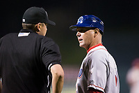 Lakewood BlueClaws manager Marty Malloy (2) discusses a call with home plate umpire Mike Rains during the game against the Kannapolis Intimidators at Kannapolis Intimidators Stadium on April 8, 2017 in Kannapolis, North Carolina.  The BlueClaws defeated the Intimidators 8-4 in 10 innings.  (Brian Westerholt/Four Seam Images)
