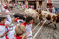 Europe,Spain,Pamplona,San Firmin festival 2018, Encierro, bulls running and first injured