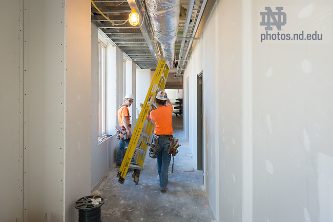 March 8, 2017; Corbett Family Hall 1st floor under construction (Photo by Matt Cashore/University of Notre Dame)