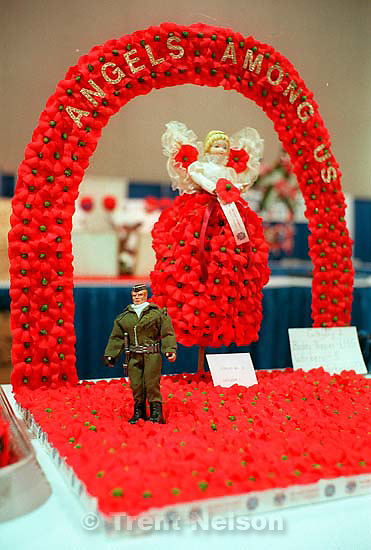 Buddy poppy display at the Veterans of Foreign Wars (VFW) Convention.<br />