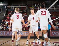 STANFORD, CA - January 5, 2019: Paul Bischoff, Stephen Moye, Jaylen Jasper at Maples Pavilion. The Stanford Cardinal defeated UC Santa Cruz 25-11, 25-17, 25-15.