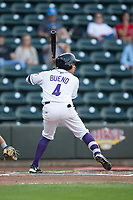 Ronald Bueno (4) of the Winston-Salem Dash at bat against the Myrtle Beach Pelicans at BB&T Ballpark on May 11, 2017 in Winston-Salem, North Carolina.  The Pelicans defeated the Dash 9-7.  (Brian Westerholt/Four Seam Images)
