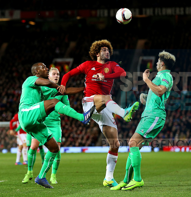 Marouane Fellaini of Manchester United in action during the UEFA Europa League Round of 32 1st leg match at Old Trafford Stadium, Manchester. Picture date: February 16th, 2017. Pic credit should read: Matt McNulty/Sportimage