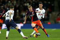 Kevin De Bruyne of Manchester City and Kieran Trippier and Erik Lamela of Tottenham Hotspur during Tottenham Hotspur vs Manchester City, Premier League Football at Wembley Stadium on 29th October 2018