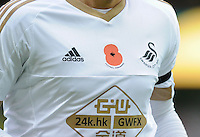The Swansea City shirt with a Remembrance Day Poppy on it during the Barclays Premier League match between Norwich City and Swansea City played at Carrow Road, Norwich on November 6th 2015