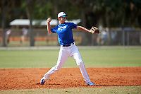 Illinois College Blueboys third baseman Dillon Hallemann (32) throws to first base during a game against the Edgewood Eagles on March 14, 2017 at Terry Park in Fort Myers, Florida.  Edgewood defeated Illinois College 11-2.  (Mike Janes/Four Seam Images)