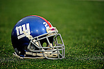23 December 2007: A New York Giants helmet lies on the turf prior to a game against the Buffalo Bills at Ralph Wilson Stadium in Orchard Park, NY. The Giants defeated the Bills 38-21. ..Mandatory Photo Credit: Ed Wolfstein Photo