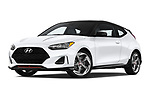 Stock pictures of low aggressive front three quarter view of a 2019 Hyundai Veloster Turbo Ultimate 5 Door Hatchback