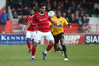 Chris Bush of Ebbsfleet and Alexander McQueen of Dagenham and Redbridge during Ebbsfleet United vs Dagenham & Redbridge, Vanarama National League Football at The Kuflink Stadium on 13th April 2019