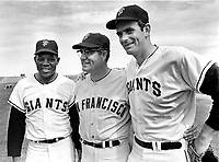San Francisco Giants..Willie Mays,         Chuck Hiller and Gaylord Perry, at Spring Training in Arizona. (1968 photo/Ron Riesterer)