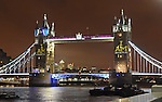 14.09.2014; London,UK: TOWER BRIDGE<br /> light up to celebrate the Invictus Games.<br /> 400+ wounded, injured and sick Servicemen and women from 13 Countries competed in four days of sport from 11-14 September 2014.<br /> Mandatory Credit Photo: &copy;NEWSPIX INTERNATIONAL<br /> <br /> **ALL FEES PAYABLE TO: &quot;NEWSPIX INTERNATIONAL&quot;**<br /> <br /> IMMEDIATE CONFIRMATION OF USAGE REQUIRED:<br /> Newspix International, 31 Chinnery Hill, Bishop's Stortford, ENGLAND CM23 3PS<br /> Tel:+441279 324672  ; Fax: +441279656877<br /> Mobile:  07775681153<br /> e-mail: info@newspixinternational.co.uk